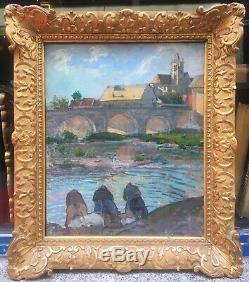 Tableau Huile Paysage Moret Sur Loing Par Léon Giran-Max (1867-1927) Fin XIXe