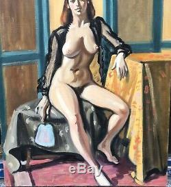 Tableau Huile Portrait Nu Feminin Atelier Rousse Robert Lepeltier (1913-1996)