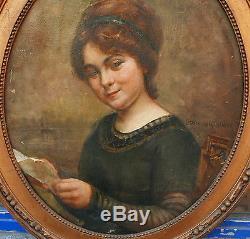 Tableau Huile Portrait de Jeune Fille PAULINE DELACROIX-GARNIER XIXe 1880/1890