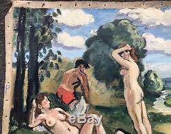 Tableau Huile Scène Baignade Paysage Nu Feminin Robert Lepeltier (1913-1996)