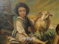 Tableau Huile Sur Toile, Jeune Berger, 19eme