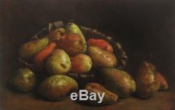 Tableau Huile Toile Nature Morte Poires Fruits Luis Melendez Art Francais Huile