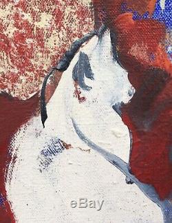 Tableau Huile Toile Portrait De Chat Claude Mancini (né en 1937) Daté 1977