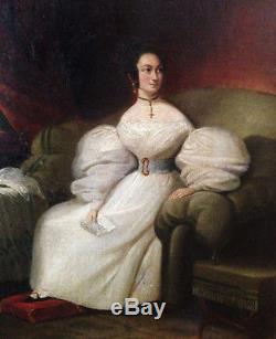 Tableau Huile sur Toile Jeune-femme à la Lette vers 1820