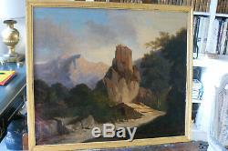 Tableau Huile sur toile 19ème siècle. Paysage. Bon état