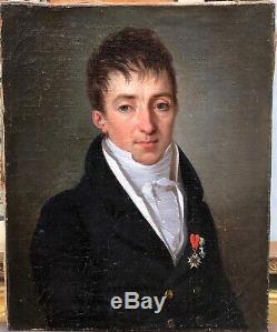 Tableau Huile sur toile Henri Nicolas Van Gorp (1756-1819) Portrait jeune homme