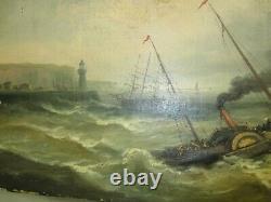 Tableau Huile sur toile MARINE Ancienne Bateau vapeur/ a roues a aubes