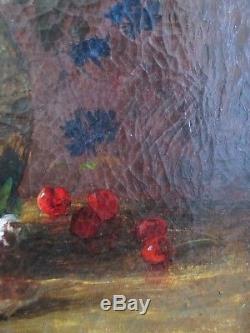 Tableau Huile / toile Nature morte Bouquet de fleurs par Gaston BOUCHER XIXe