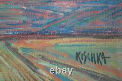 Tableau Isis KISCHKA Huile sur toile Maison bleue à SINTRA v1359