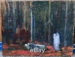 Tableau Original LOUIS BILLOTEY (1883-1940) Rare Scène Symboliste vers 1902