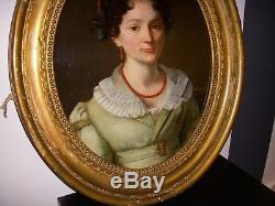 Tableau Ovale Portrait Huile Sur Toile XVIII Eme XIX Eme Louis XVI