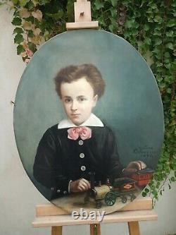 Tableau PEINTURE huile sur toile OVALE PORTRAIT D'ENFANT garçon 19e XIX signé