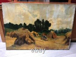 Tableau Peinture Ancienne Huile signé, Paysage, Champs, Moisson