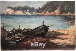 Tableau Peinture Huile Paul LEVÉRÉ (1875-1949) Marine Port De Toulon Bateaux