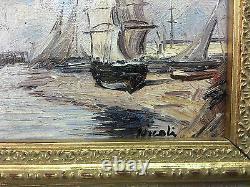 Tableau / Peinture / Huile Sur Toile Contemporaine Les Voiliers Signée Nicoli