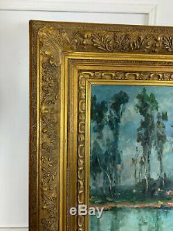 Tableau / Peinture Huile Sur Toile De P. Leighton Paysage De Moret Sur Loing