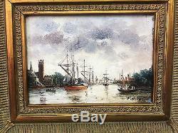 Tableau / Peinture / Huile Sur Toile Entrée Au Port Signée F. Nicoli