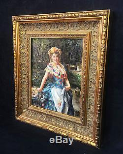 Tableau / Peinture / Huile Sur Toile Femme Au Bouquet Fleurs Signée S Mills