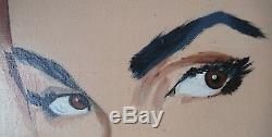 Tableau Peinture Huile Sur Toile L'indiscrete Peintre Inconnu. Annees 60