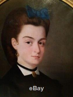 Tableau Portrait Femme au Ruban Bleu Huile sur Toile 19ème