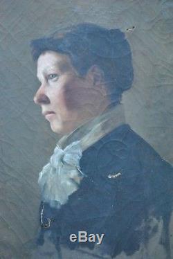 Tableau Realisme Huile Portrait Femme Profil Peinture Xixème