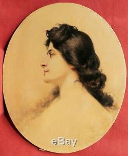 Tableau Théobald CHARTRAN portrait jeune femme fille profil Belle époque huile