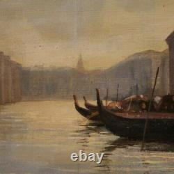 Tableau Venise peinture signée et datée huile sur toile paysage canal