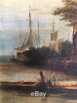 Tableau XIX Eme-paysage-provence-provencale-marine-cadre Doré-huile Sur Toile