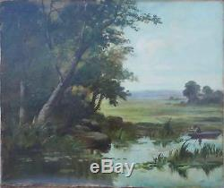 Tableau XIX° paysage lacustre, bord de rivière avec pêcheur Barbizon