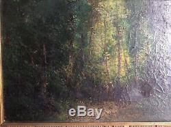 Tableau XIXe proche DIAZ de la PENA BARBIZON Paysannes en Forêt Huile sur toile