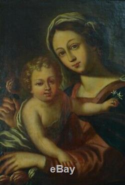 Tableau ancien 17 ème Vierge à la rose éc. Simon Vouet Vierge à l'enfant Portrait