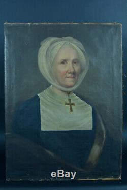 Tableau ancien 18 éme portrait femme religieuse Abesse signée Guerin 1782 hst