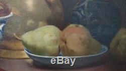 Tableau ancien 19 e nature morte fruits pichet huile sur toile XIXe