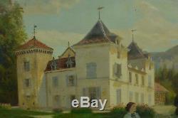 Tableau ancien Chateau Portrait Comte Kerdréan Moirans Grenoble Diodore Rahoult