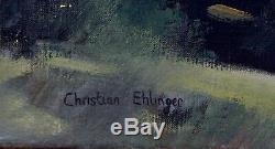 Tableau ancien Christian Ehlinger Alsace Le village Abbaye de Murbach Haut-Rhin