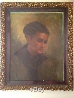 Tableau ancien Classique XIXe Portrait jeune femme pensive Huile sur toile 19e