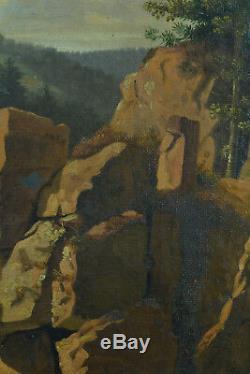 Tableau ancien Claude Nozerine Paysage ruine Vosges Lorraine hst Remiremont 1850