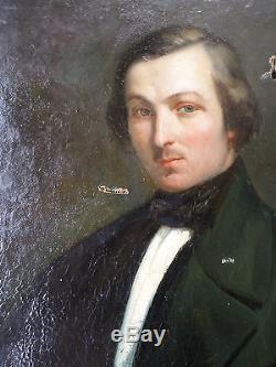 Tableau ancien/ Huile-Portrait-Homme-École française XIXe-CATHELINAUX-1846-oil
