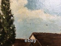 Tableau ancien, Huile sur toile, Barbizon, Encadré, XIXe