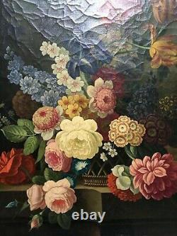 Tableau ancien, Huile sur toile, Nature morte au bouquet de fleurs, XIXe