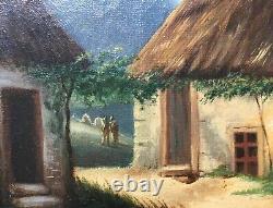 Tableau ancien, Huile sur toile, Paysage animé, Chaumière, Encadré, XIXe