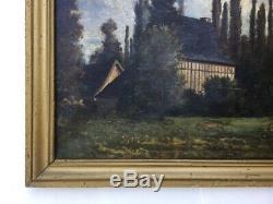 Tableau ancien Huile sur toile, Paysage de clairière, Maisons à colombages, XIXe