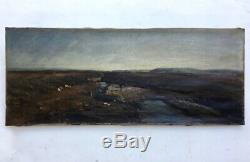 Tableau ancien, Huile sur toile, Paysage de lande avec personnage, Fin XIXe