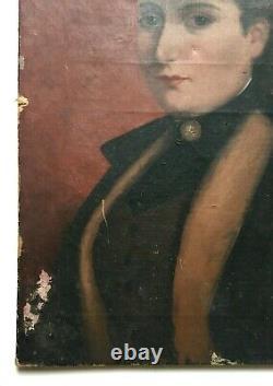 Tableau ancien, Huile sur toile, Portrait de femme au chapeau, Fin XIXe