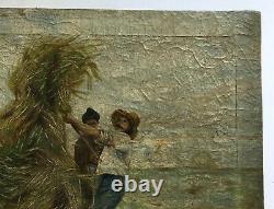 Tableau ancien, Huile sur toile, Scène de moisson, Travaux des champs, début XXe