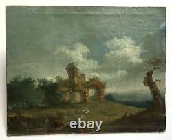 Tableau ancien, Huile sur toile marouflée, Paysage aux ruines animé, XIXe