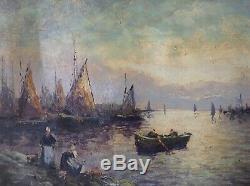Tableau ancien Marine Bretagne Retour de Pêche Huile Toile signée Robert Mogisse