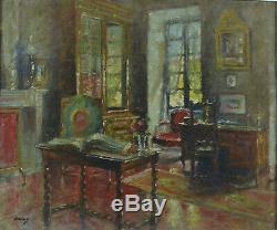 Tableau ancien Paul Urtin Intérieur Bourgeois Maison Salon Bibliothèque1930 hst