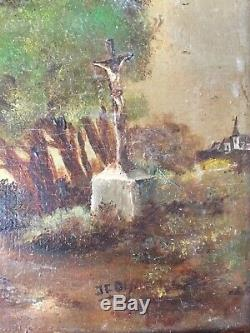 Tableau ancien Paysage au Calvaire Huile sur toile signée