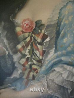 Tableau ancien Portrait Femme Dame de qualité Noble Rose Huile Toile XIXe Signé